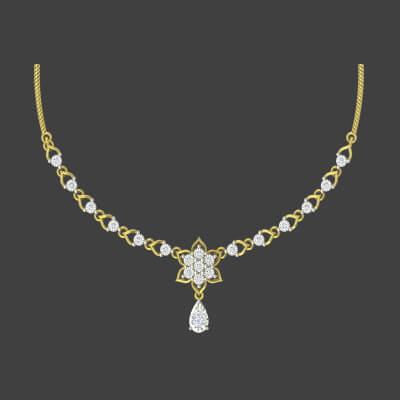 gold necklace design for women with diamond. Available in 18k and 14k yellow gold
