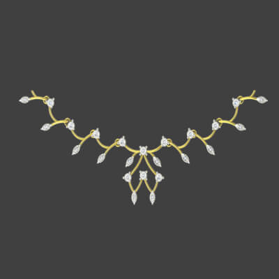 Unique diamond necklace for indian bride. Best designs at augrav.com in yellow gold