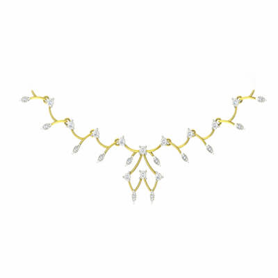 simple diamond necklace designs for wedding bride in india with 18k or 22k yellow gold.