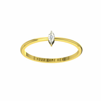 Name engraved couple gold ring with diamond for wedding and engagement couple. Engraved his and her name on gold ring