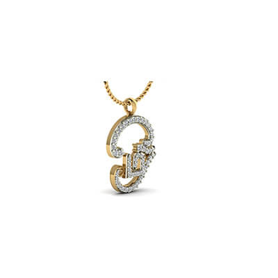 Customized Ohm pendant in tamil in yellow gold 18K and 22K, Free shipping in chennai,pune,bangalore,delhi and coimbatore