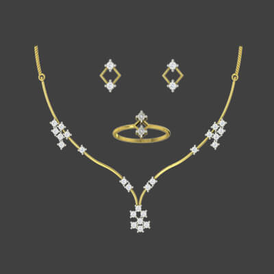 Traditional gold necklace designs at 10 grams with diamond earring and personalized ring