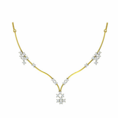 Indian gold necklace for wedding with diamond for bride and wife