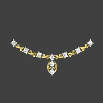 Yellow gold diamond necklace for women. Availabale in chennai,mumbai,delhi,bangalore