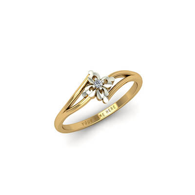 Gold engagement rings for couple with names engraved inside and outside the ring