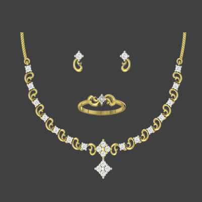 Simple diamond pendant necklace set with personalized ring and diamond earring