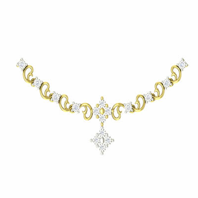 Diamond necklace design for girls in online india at augrav.com. Starts from 8 gram and Rs. 35000