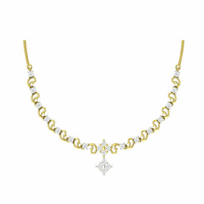 light weight gold necklace designs for women indian style in 18k and 22k with pure diamond for girls