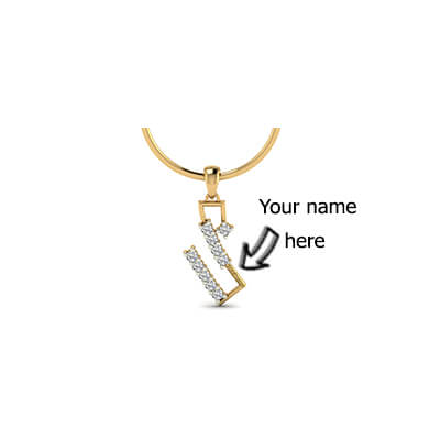 Customized gold pendant with name in 18k and 22k yellow gold