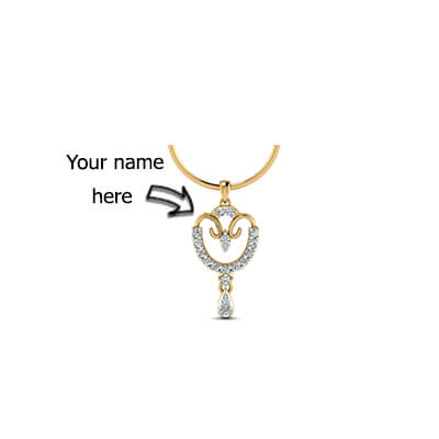 Diamond name pendant designs for kids in 18k and 22k