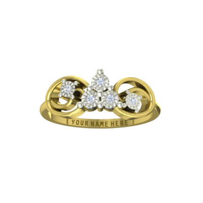 Small customized diamond ring with name for wedding,engagement and anniversary