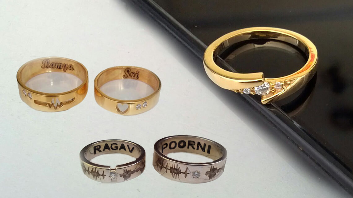 Customized gold rings for engagementwedding
