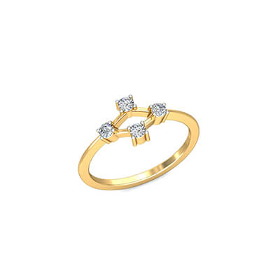 Unique anniversary diamond ring for women. Available in 18K 14k yellow gold.