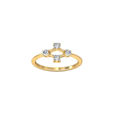 Diamond ring for indian wife with four diamond