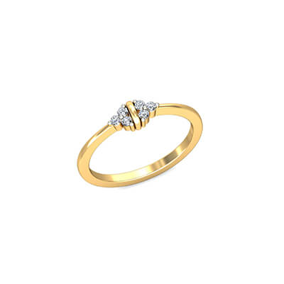 Engagement diamond ring for women with engraving. Available in 18K and 22K yellow gold.