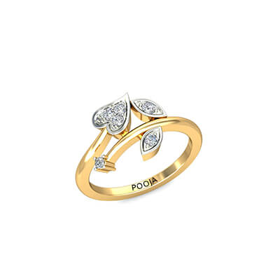 Heart shaped gold ring for couples in india. Available in 18K and 22K