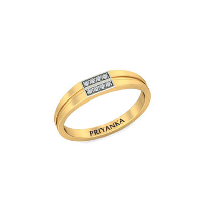 Buy Custom Engraved Gold Rings With Diamond In line India