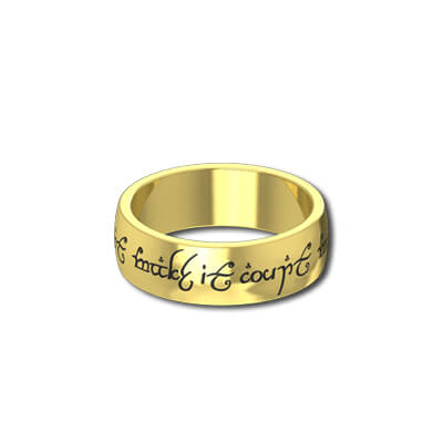 mens lord of the rings wedding bands in yellow gold - The One Ring Wedding Band
