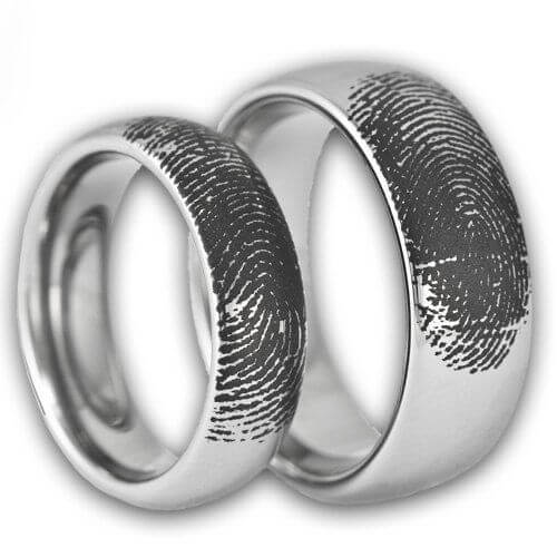 Couple's Fingerprint Engraved Ring Set