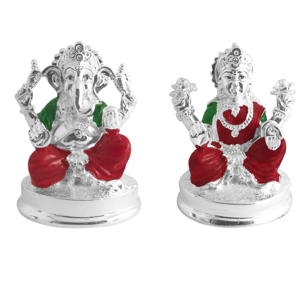 Ganesh and laxmi idols in silver