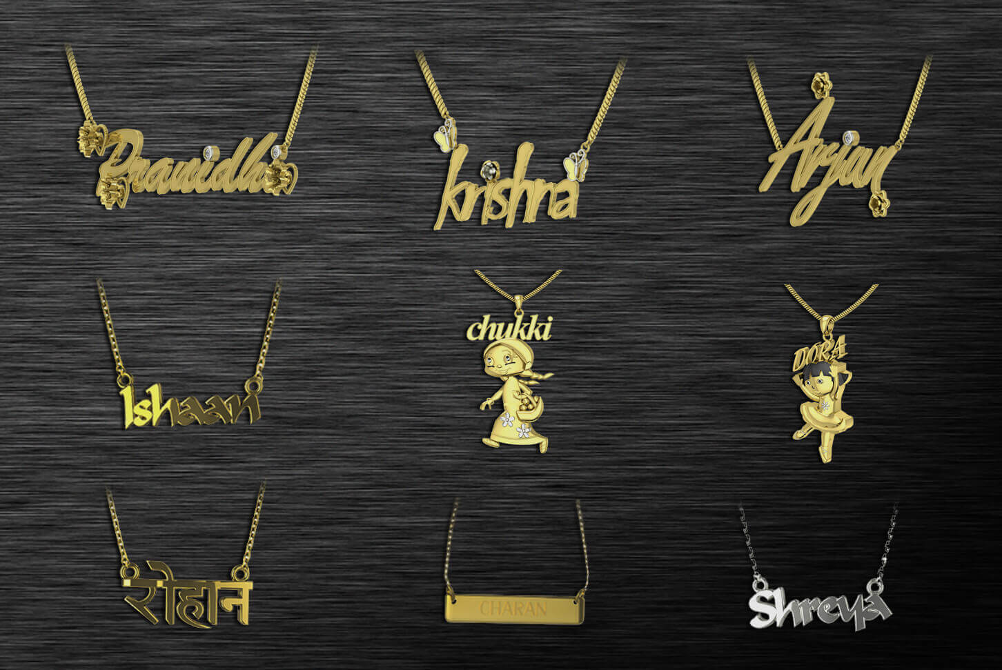 Buy custom made name pendants in india online buy it in 6 simple gold and silver pendants with name designs aloadofball