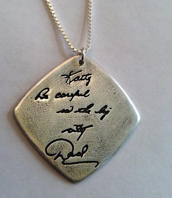 Handwriting Engraved pendants for boy and girl kids