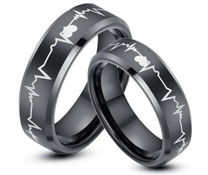 Heart Beart Engraved Couple Bands