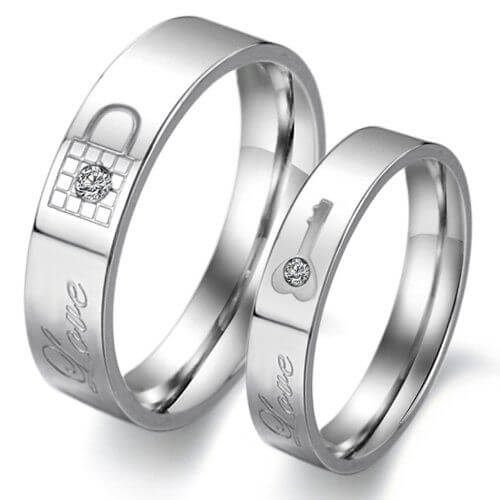 Lock and Key Couple wedding band