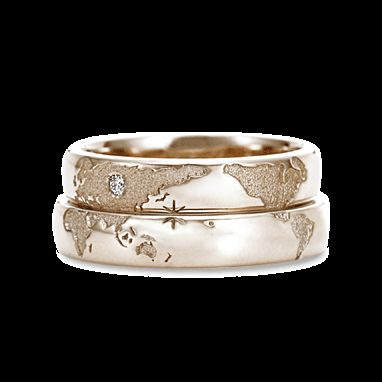 Long Distance Couple Rings - Location Engraved