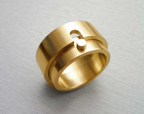 One Inside Other Lock Matching Couple Ring
