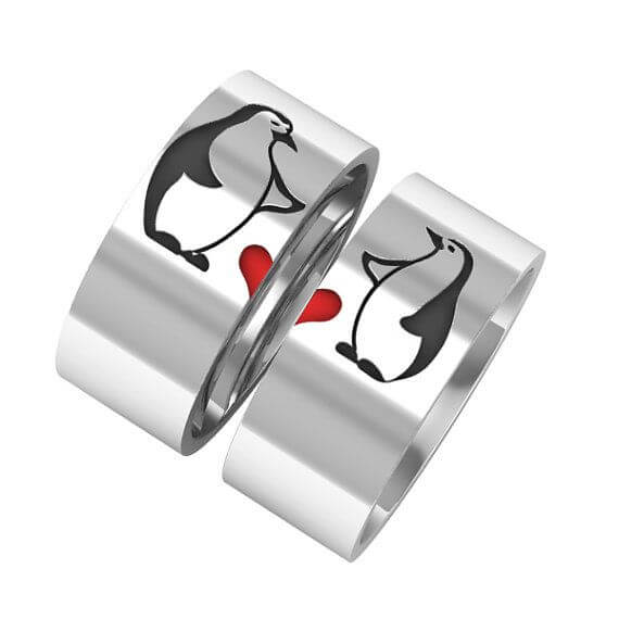 Penguin With Heart Gold Couple Bands