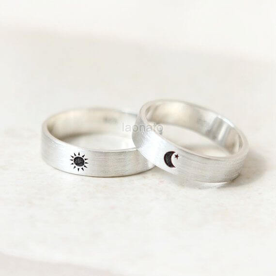 Sun and Moon Engraved Ring sets for couple
