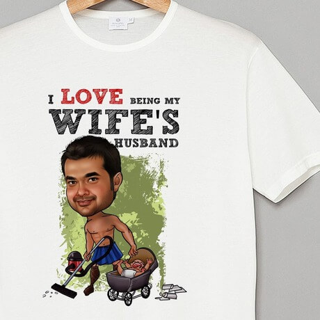 Wife's husband Caricature t-shirt