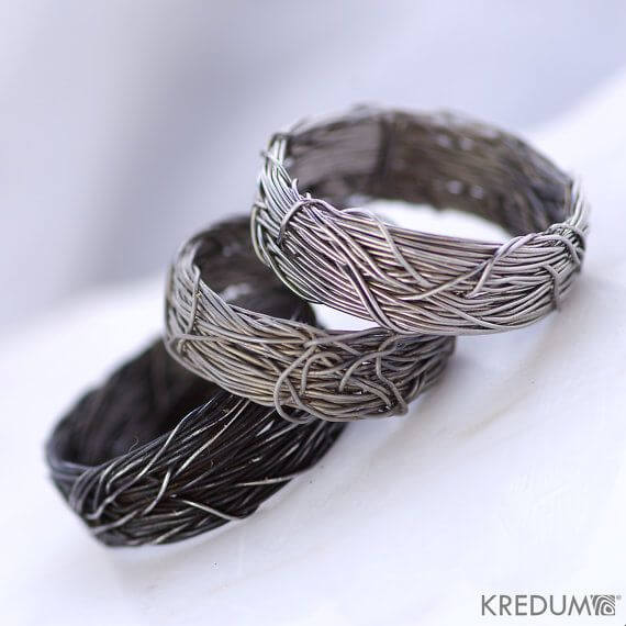 Coiled copper wedding ring for hubby