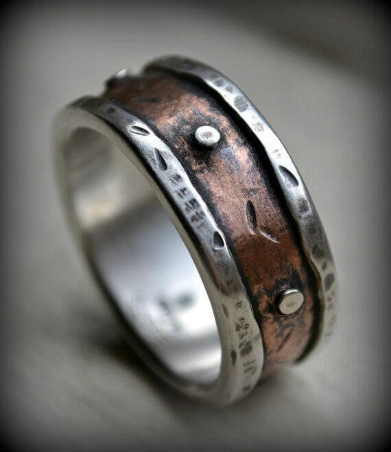Copper textured band for male wedding