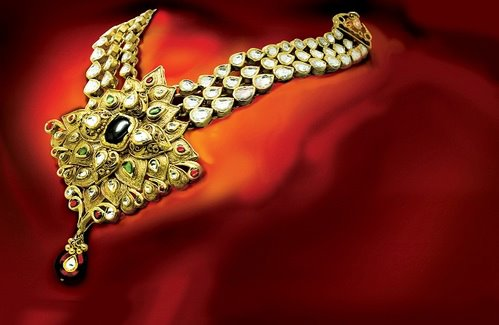 Gold and diamond necklace by mohamad khan sons byderabad