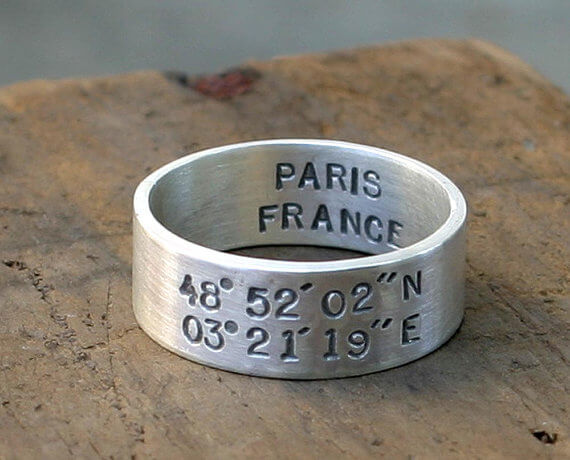 Location engraved male wedding ring