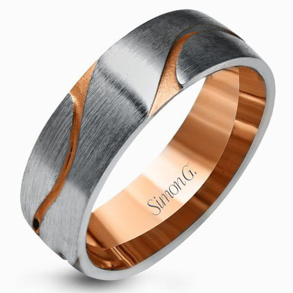 Mixed metal wedding ring - Gold,platinum,silver