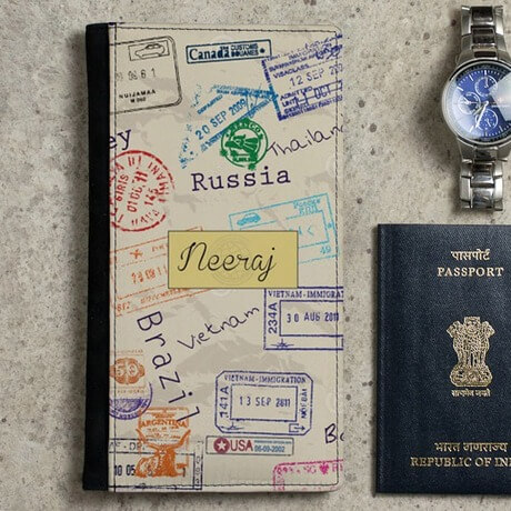 Surprise him with personalized passport holder
