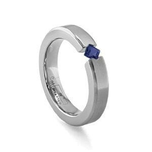 White gold wedding ring with stones for him