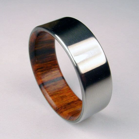 Wood and metal combained ring for men wedding