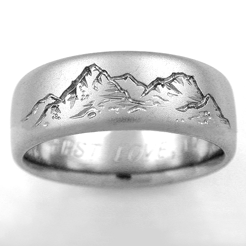 mountain-view engraved silver wedding ring