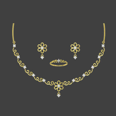 gold necklace with white stone designs