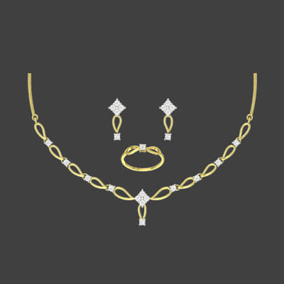 Glowing Dimaond Necklace Set