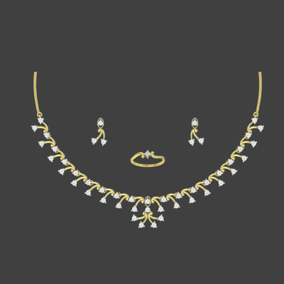 simple solitaire necklace set