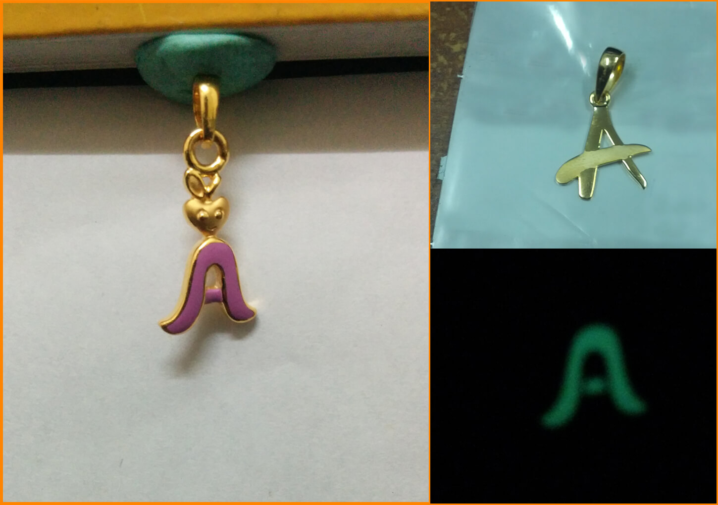 letter a gold pendnat designs by augrav.com