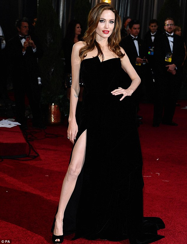 Angelina Jolie's Thigh High Split Gown