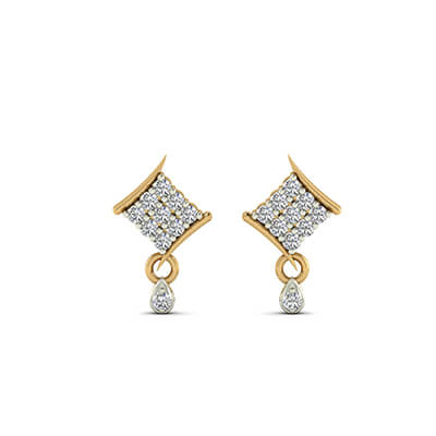 hanging earrings in gold