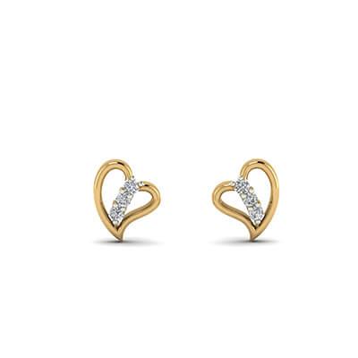 7d5fd2767 Heart Shaped Diamond Stud Earrings