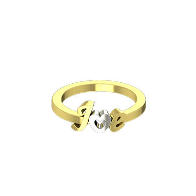 Heart Shaped Initial Gold Ring (1)